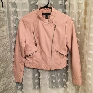 Forever 21 Faux Leather Jacket, Rose Pink, Size S